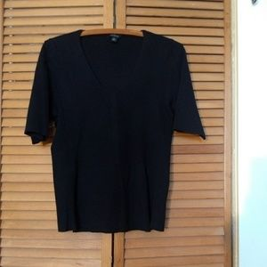 Black Knit Half-Sleeve Sweater